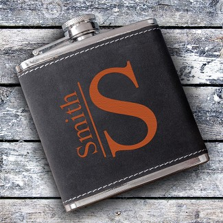 Personalized Monogrammed Suede Flask