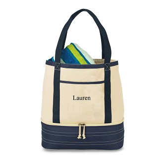 Personalized Coastal Cotton Insulated Tote Bag