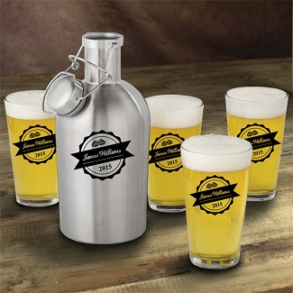 Personalized Stainless Steel Beer Growler with Pint Glass Set