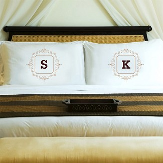 Personalized Initial Motif Couples' Pillowcase Set