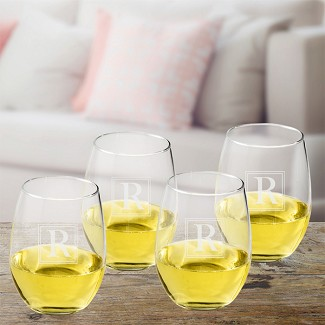 Personalized Initial Stemless Wine Glass Set