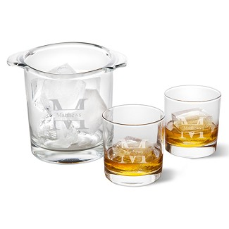 Monogrammed Glass Ice Bucket with Two Lowball Glasses
