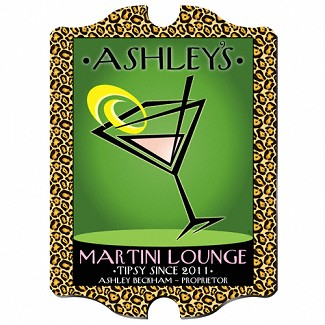 "Vintage Personalize ""Cosmo-Chic"" Martini Lounge Pub Sign"
