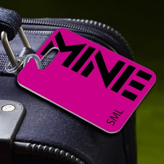 "Personalized ""MINE"" Pink Luggage Tag"