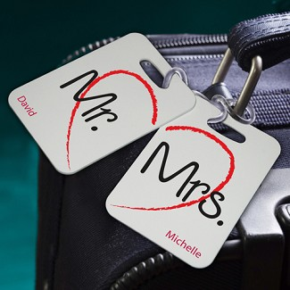Personalized Heartstrings Couples Luggage Tags
