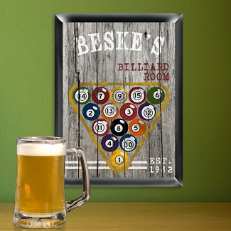 Personalized Traditional Billiards Man Cave Pub Sign