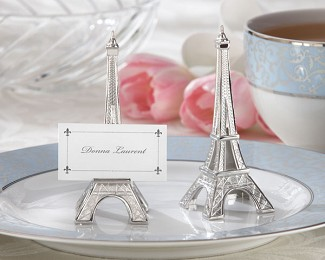 """Evening in Paris"" Eiffel Tower Silver-Finish Place Card Holder (Set of 4)"
