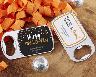 Personalized Silver Bottle Opener with Epoxy Dome - Halloween