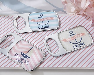 Personalized Bottle Opener with Epoxy Dome - Nautical Baby Shower Collection