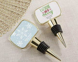 Personalized Gold Bottle Stopper with Epoxy Dome - Holiday