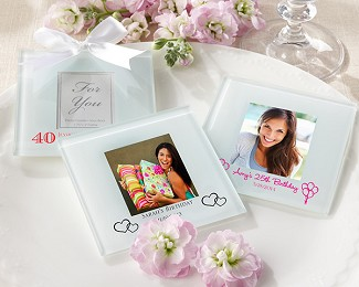 Personalized Frosted-Glass Photo Coaster - Birthday (Set of 12)