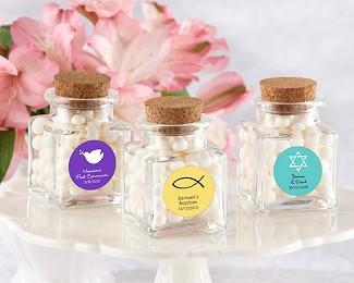 """Petite Treat"" Personalized Square Glass Favor Jar - Religious (Set of 12)"