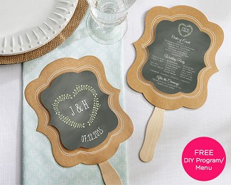 Personalized Kraft Hand Fans (Set of 12)