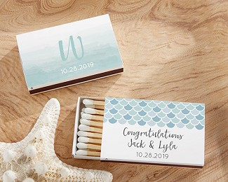 Personalized White Matchboxes - Seaside Escape (Set of 50)