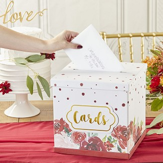 Burgundy Blush Floral Collapsible Card Box