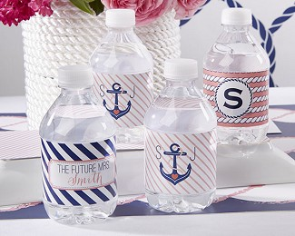 Personalized Water Bottle Labels - Nautical Bridal Shower Collection