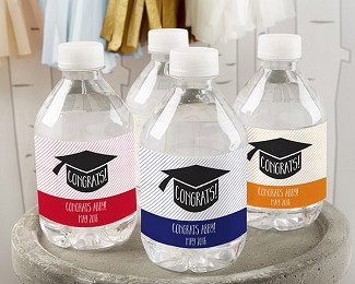 Personalized Water Bottle Labels - Congrats Graduation Cap